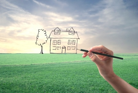 15662505 - hand drawing a house in a large grace field